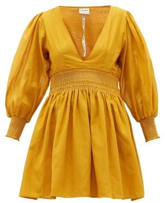 Escvdo - Misa V-neck Cotton Mini Dress - Dark Yellow