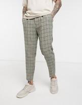 Asos Design DESIGN tapered smart pants in 100% wool Harris Tweed large houndstooth in gray