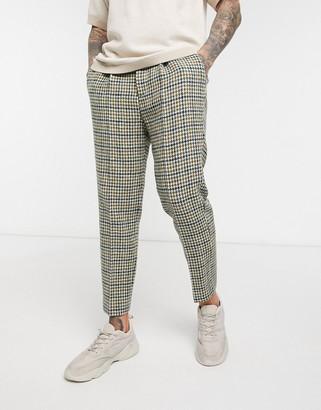 Asos DESIGN tapered smart pants in 100% wool Harris Tweed large houndstooth in gray