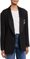Escada Jeweled-Brooch Boyfriend Blazer