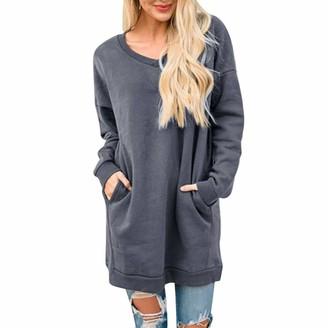 Lialbert Fashion Women Solid V-Neck Long Sleeve Pockets Casual Loose Sweatshirt Pullover Gray