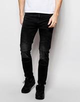 Pull&bear Skinny Biker Jeans In Washed Black
