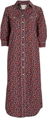 R 13 Cowboy Floral Shirt Dress