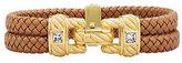 Judith Ripka As Is 14K Gold Clad Braided Double Row Bracelet