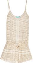 Melissa Odabash Khloe Metallic Crochet-knit Mini Dress - Ivory