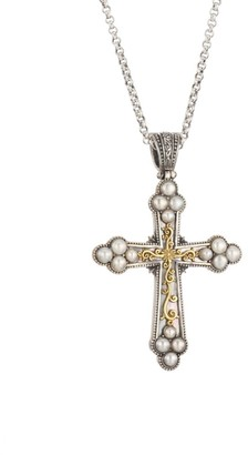 Konstantino Thalia Two-Tone & 2.67MM-3.72MM Pearl Cross Pendant