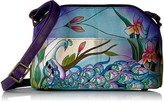 Thumbnail for your product : Anna by Anuschka Women's Genuine Leather Medium Multi-Compartment Crossbody   Hand Painted Original Artwork   Midnight Peacock