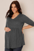 Yours Clothing BUMP IT UP MATERNITY Charcoal Grey Ruched Waist Longline Top