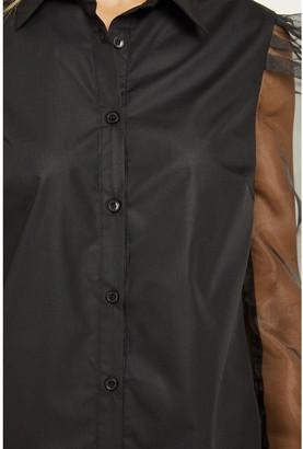 Quiz Button Through Organza Sleeve Shirt - Black