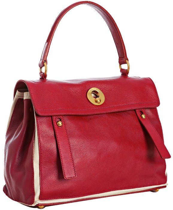 Yves Saint Laurent flame and white calfskin leather 'Muse Two' satchel