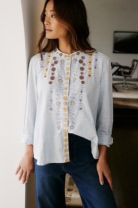 Pilcro And The Letterpress The Whitney Beaded Trapeze Buttondown By in Blue Size XS