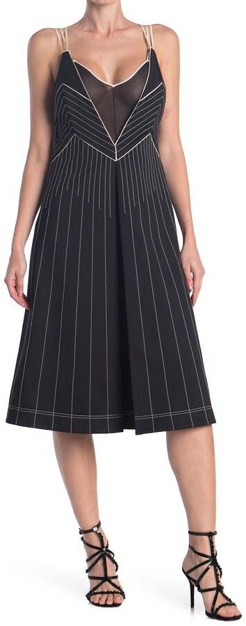 Valentino Mesh Sleeveless Flared Silk Midi Dress