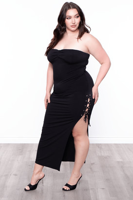 Curvy Sense Side Lace-Up Strapless Dress / Black Size 1X