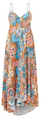 Dodo Bar Or Mila Bow-back Floral-print Twill Dress - Womens - Blue Print