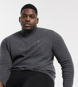 Polo Ralph Lauren Ralph Lauren Big & Tall player logo half zip wool knit sweater in charcoal marl