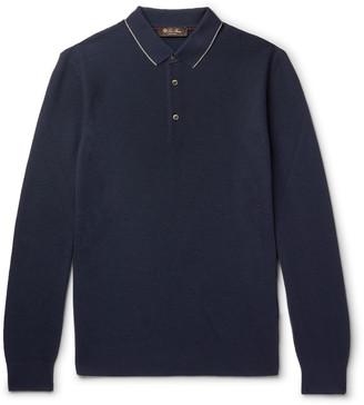 Loro Piana Contrast-Tipped Wool And Cashmere-Blend Pique Polo Shirt