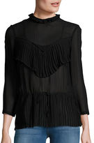 Tracy Reese Pleated Panel Mockneck Top