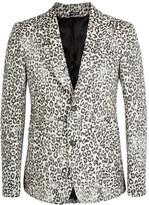 Alexander Mcqueen Leopard-jacquard Wool Blend Jacket