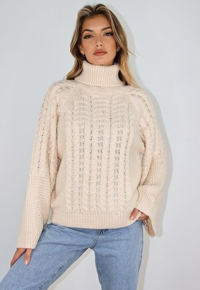 Missguided Stone Wide Sleeve Cable Knit Roll Neck Jumper