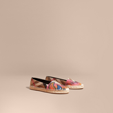 Burberry Rainbow Graphic Print Canvas and Suede Check Espadrilles