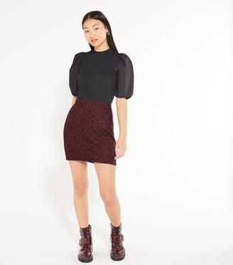 New Look Petite Jacquard Leopard Mini Tube Skirt