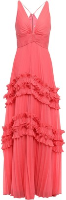 Halston Ruffle-trimmed Pleated Voile Gown