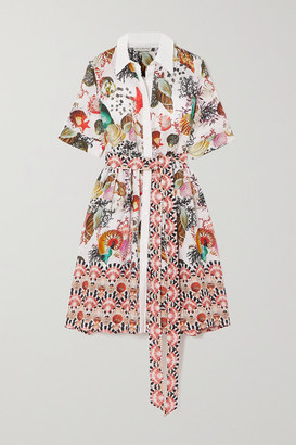 Mary Katrantzou MARY-MARE Cecilia Belted Printed Linen Shirt Dress - White