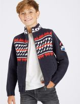 Marks and Spencer Cotton Rich Fairisle Zip Through Cardigan (3-14 Years)