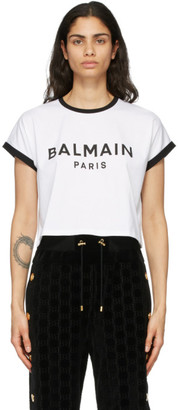 Balmain White and Black Cropped Flocked Logo T-Shirt