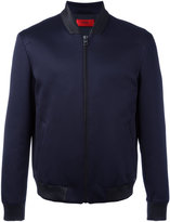 HUGO BOSS ribbed collar bomber jacket - men - Cotton/Polyester/Polyurethane/Viscose - M