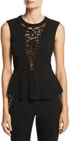 A.L.C. Marin Sleeveless Lace-Trim Peplum Top, Black