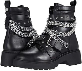 Steve Madden Temina Combat Boots (Black Leather) Women's Boots
