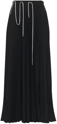 Christopher Kane Crystal-embellished Pleated Cady Midi Skirt