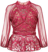 Marchesa lace detail peplum blouse