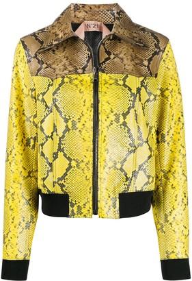 No.21 Snakeskin Print Leather Jacket