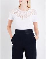 Sandro Floral-lace cotton-jersey T-shirt