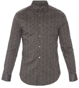 John Varvatos Flower-print Long-sleeved Cotton Shirt