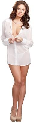 iCollection Women's Chiffon Button Down Sleep Shirt