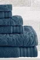 Amrapur Jacquard/Solid 6-Piece Leaf Swirl Towel Set - Denim