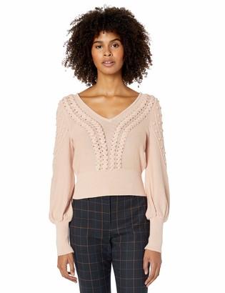 BCBGMAXAZRIA Women's Bishop Sleeve Cable Sweater