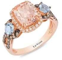 LeVian Le Vian 14K Strawberry Gold? Peach MorganiteTM, Sea Blue AquamarineTM, Chocolate Diamonds? & Vanilla Diamonds? Ring