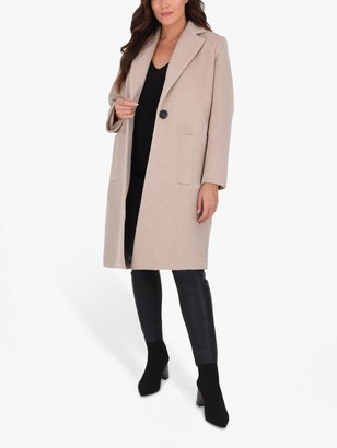 Live Unlimited Long Tailored Coat, Camel