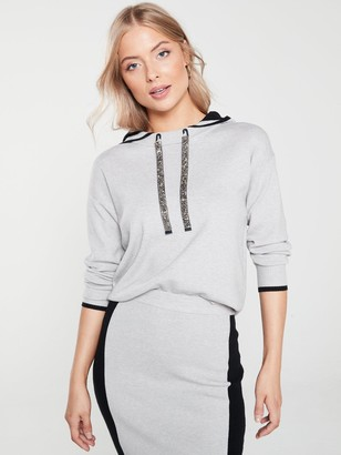 River Island Embellished Drawstring Contrast Colour Hoody - Grey
