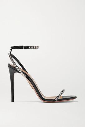 Aquazzura Very Vera 105 Crystal-embellished Suede Sandals - Black
