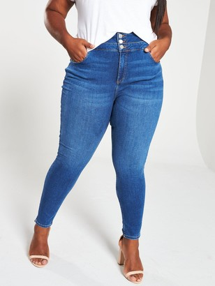 V By Very Curve High Waist Supersoft Skinny Jeans - Indigo