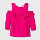 Cat & Jack Girls' Long Sleeve Cold Shoulder Top - Cat & Jack Pink