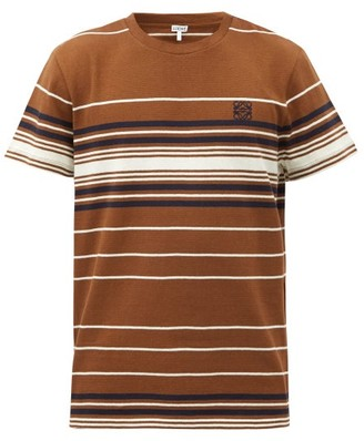Loewe Anagram-embroidered Striped Cotton-jersey T-shirt - Brown Multi
