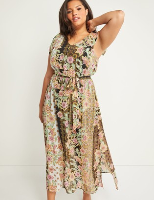 Lane Bryant Mixed Print Maxi Dress with Shoulder Ties