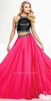 Tony Bowls Le Gala Two Piece Leather Halter Prom Gown