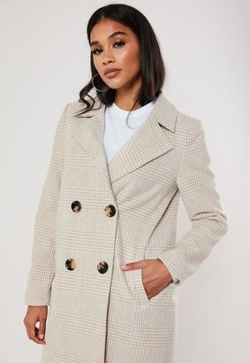 Missguided Check Button Front Coat